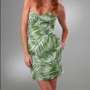 Palm print Milly strapless dress